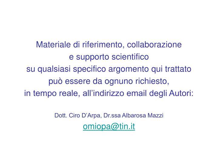 Materiale di riferimento, collaborazione
