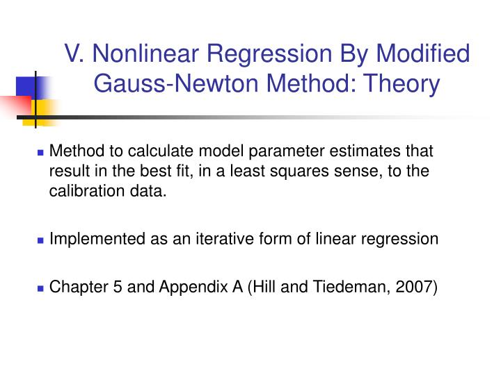 PPT - V  Nonlinear Regression By Modified Gauss-Newton