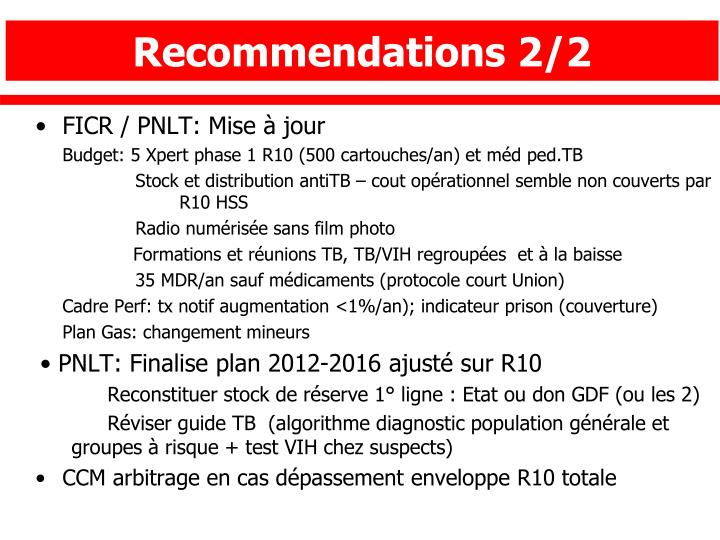 Recommendations 2/2