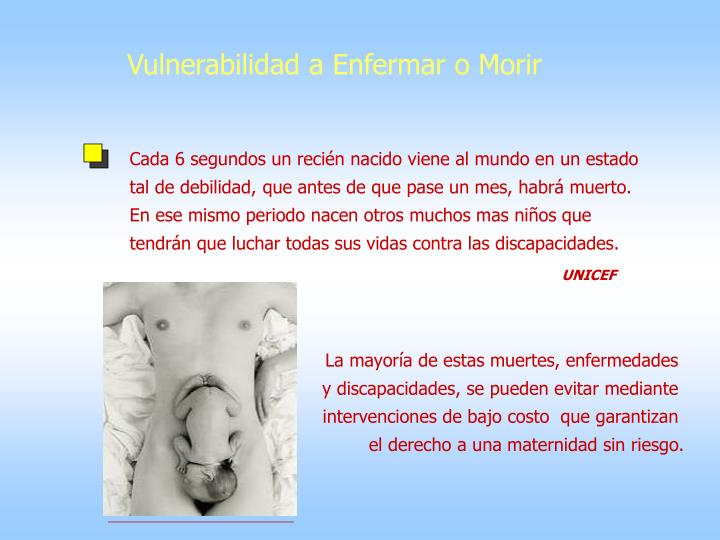 Vulnerabilidad a Enfermar o Morir