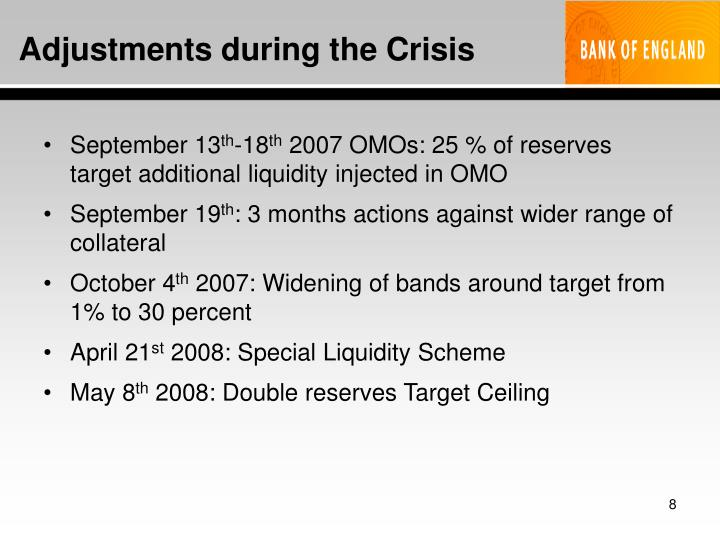 Adjustments during the Crisis
