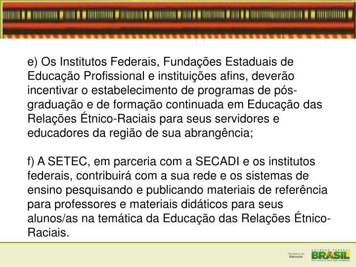 e) Os Institutos Federais, Fundações Estaduais de Educação Profissional e instituições afins, deverão incentivar o estabelecimento de programas de pós-graduação e de formação continuada em Educação das Relações Étnico-Raciais para seus servidores e educadores da região de sua abrangência;