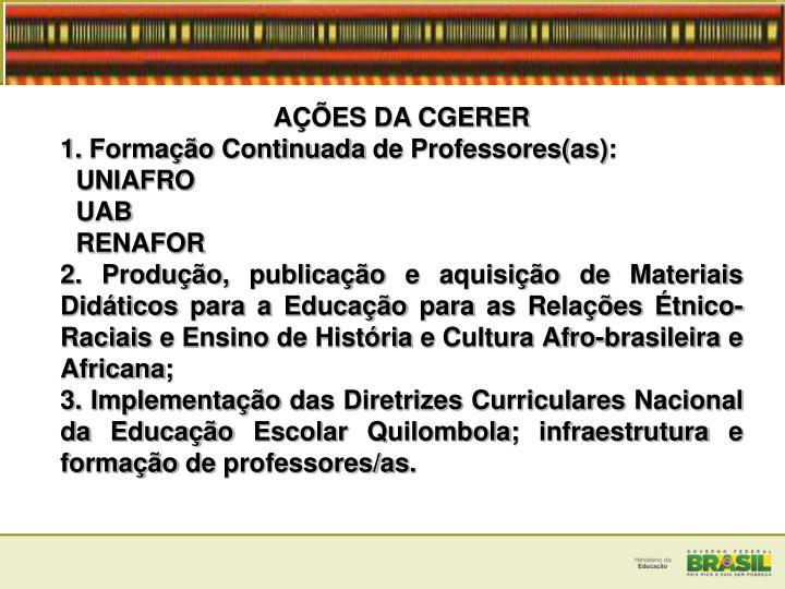 AÇÕES DA CGERER