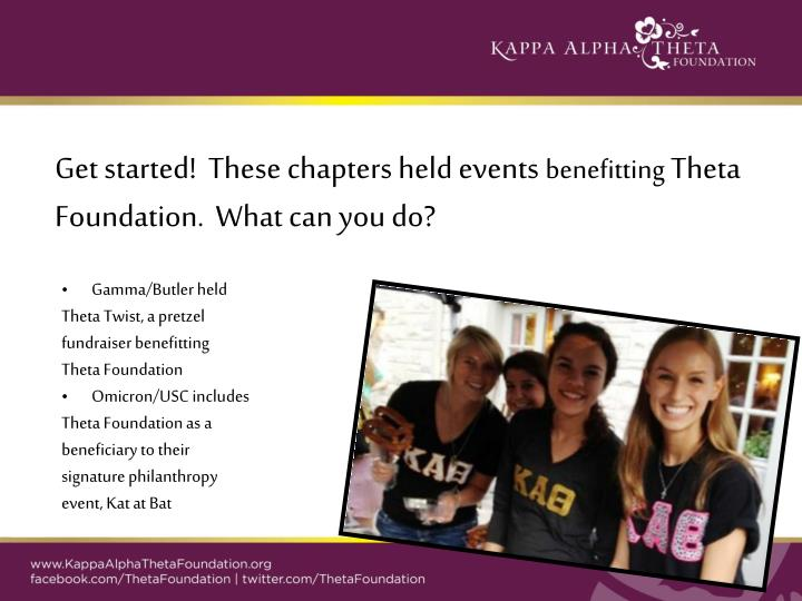 Get started!  These chapters held events