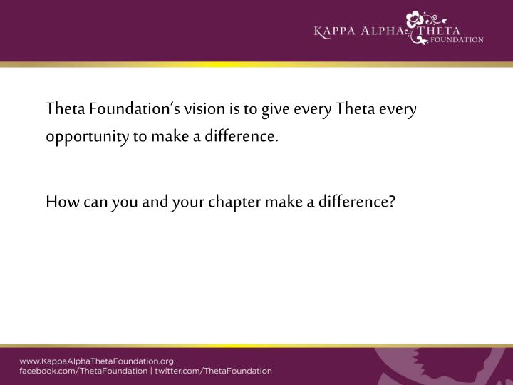 Theta Foundation's vision is to give every Theta every opportunity to make a difference.