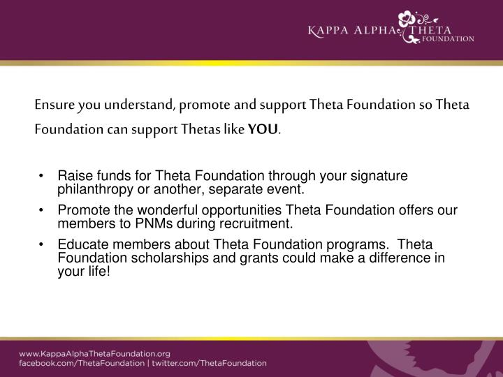 Ensure you understand, promote and support Theta Foundation so Theta Foundation can support Thetas l...