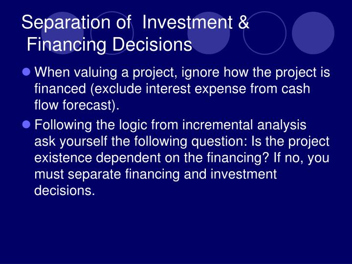 Separation of  Investment &