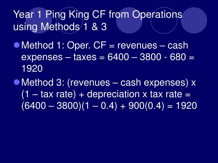 Year 1 Ping King CF from Operations using Methods 1 & 3