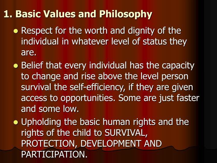 1. Basic Values and Philosophy
