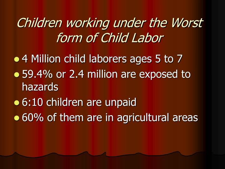 Children working under the Worst form of Child Labor