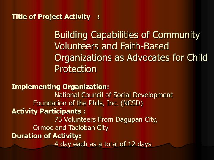Title of Project Activity: