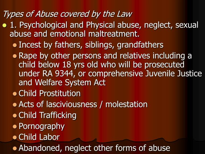 Types of Abuse covered by the Law