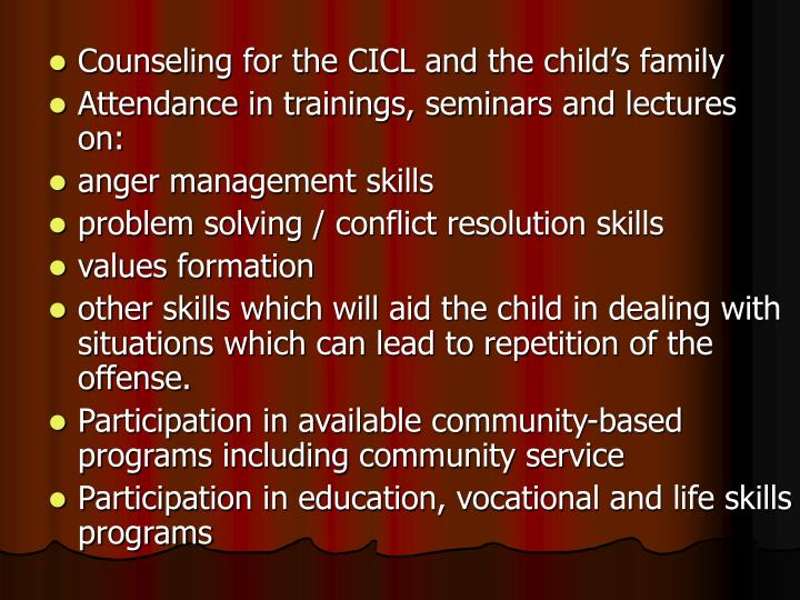 Counseling for the CICL and the child's family
