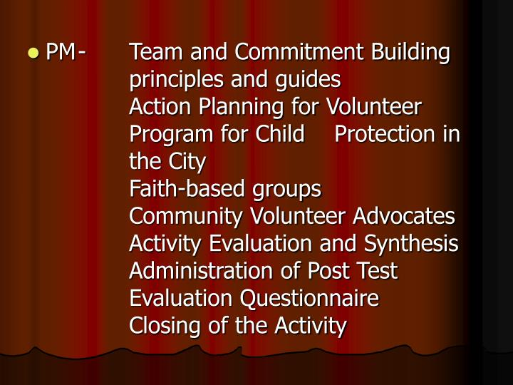 PM-Team and Commitment Building principles and guides