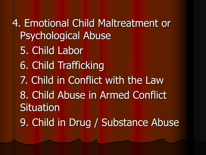 4. Emotional Child Maltreatment or Psychological Abuse