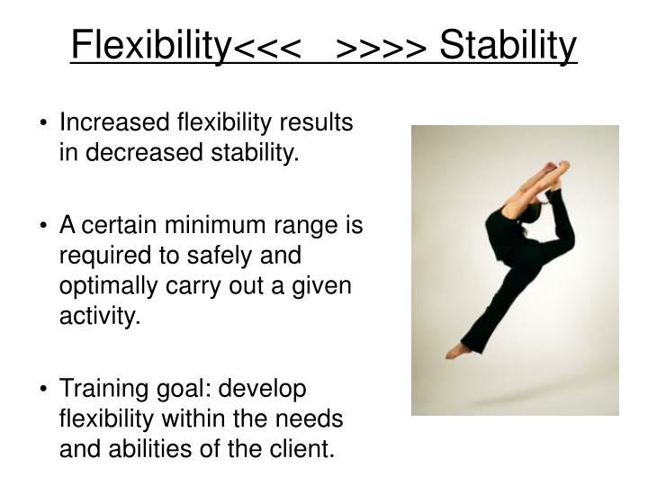 Flexibility<<<   >>>> Stability