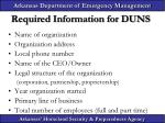 required information for duns