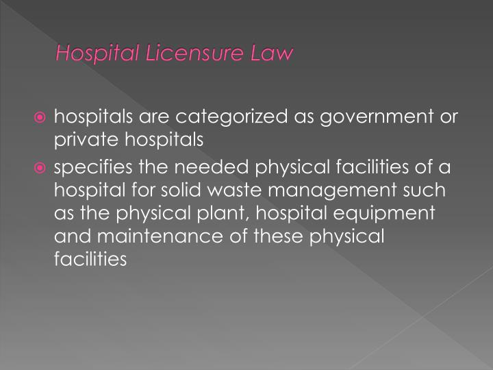 Hospital Licensure Law