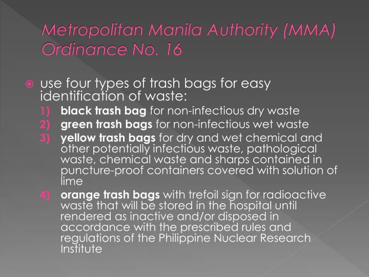Metropolitan Manila Authority (MMA) Ordinance No. 16