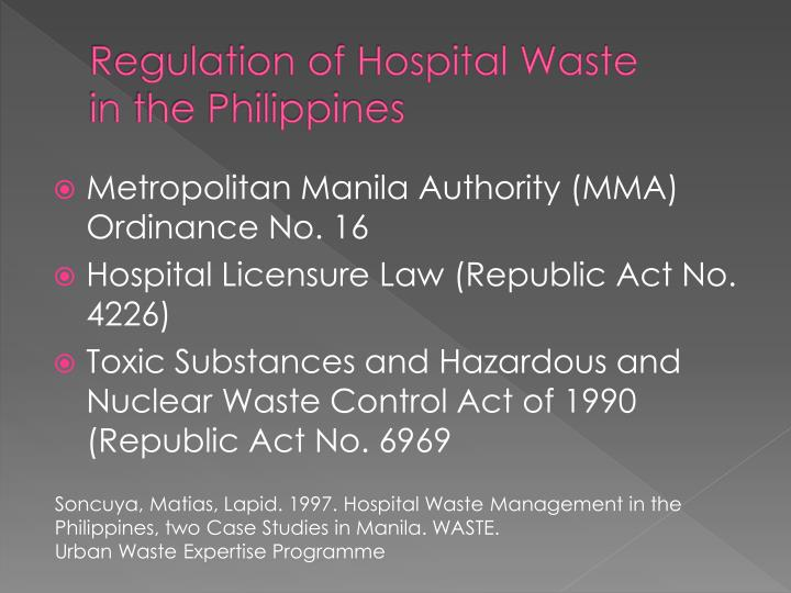 Regulation of Hospital Waste