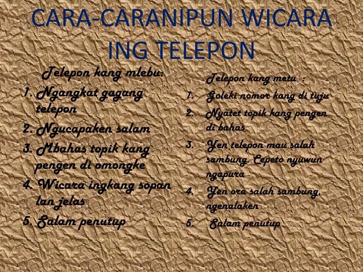 CARA-CARANIPUN WICARA ING TELEPON