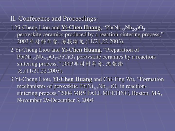 II. Conference and Proceedings: