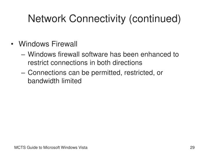 Network Connectivity (continued)