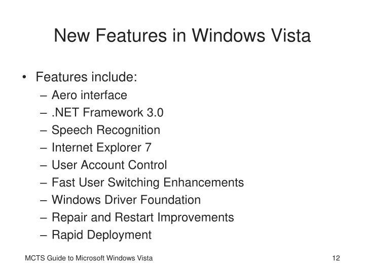 New Features in Windows Vista
