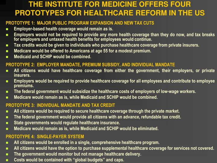 THE INSTITUTE FOR MEDICINE OFFERS FOUR PROTOTYPES FOR HEALTHCARE REFORM IN THE US