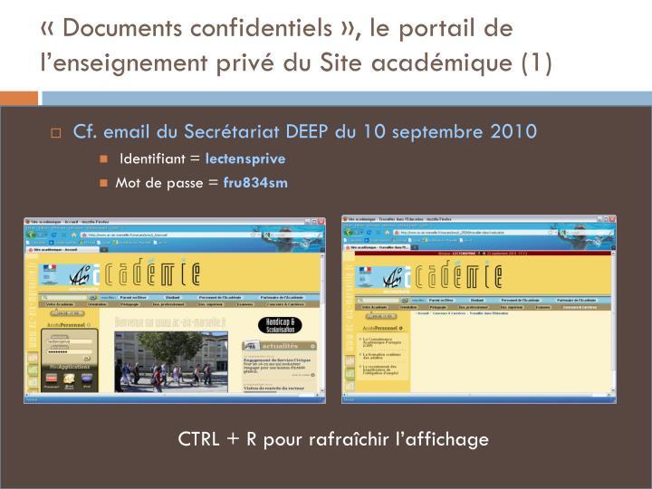 «Documents confidentiels», le portail de l'enseignement privé du Site académique (1)