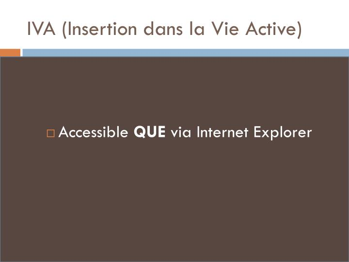 IVA (Insertion dans la Vie Active)