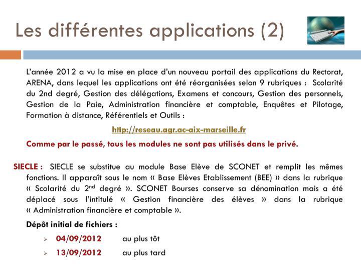 Les diff rentes applications 2