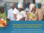 the impact of community driven development existing evidence