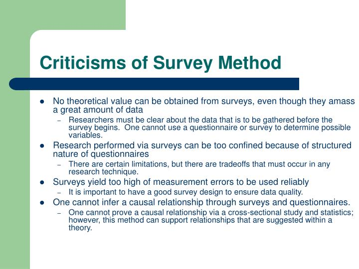 Criticisms of Survey Method