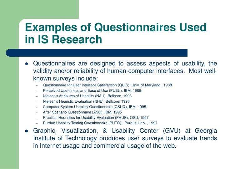 Examples of Questionnaires Used in IS Research