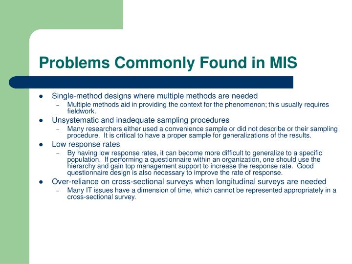 Problems Commonly Found in MIS