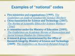 examples of national codes