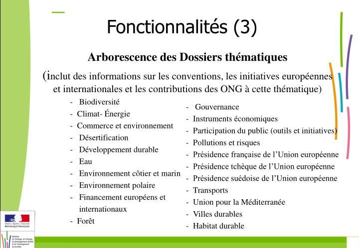 Fonctionnalités (3)