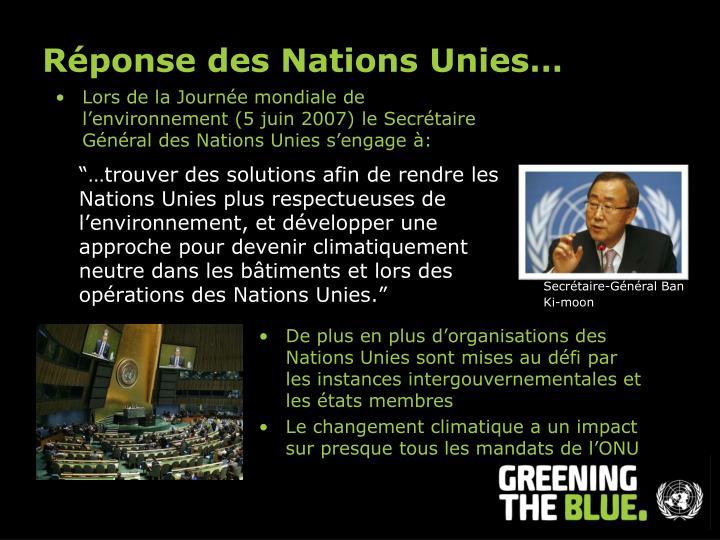 Réponse des Nations Unies…