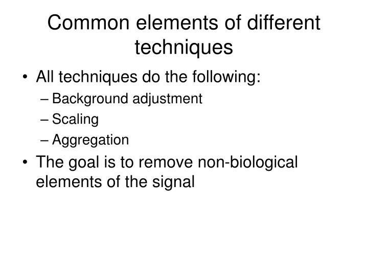 Common elements of different techniques
