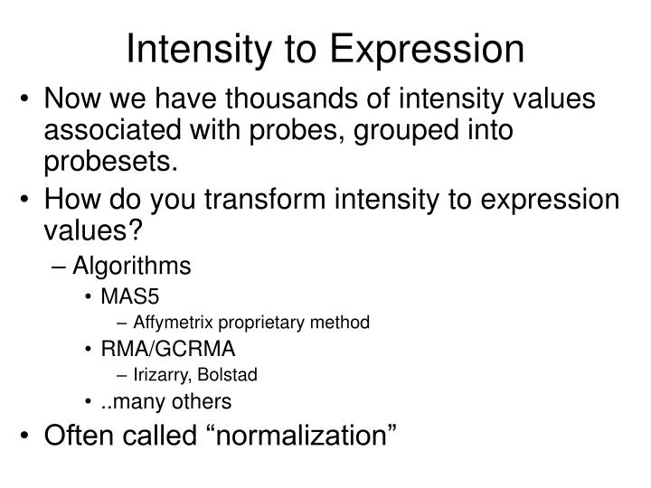Intensity to Expression