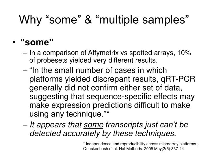 """Why """"some"""" & """"multiple samples"""""""