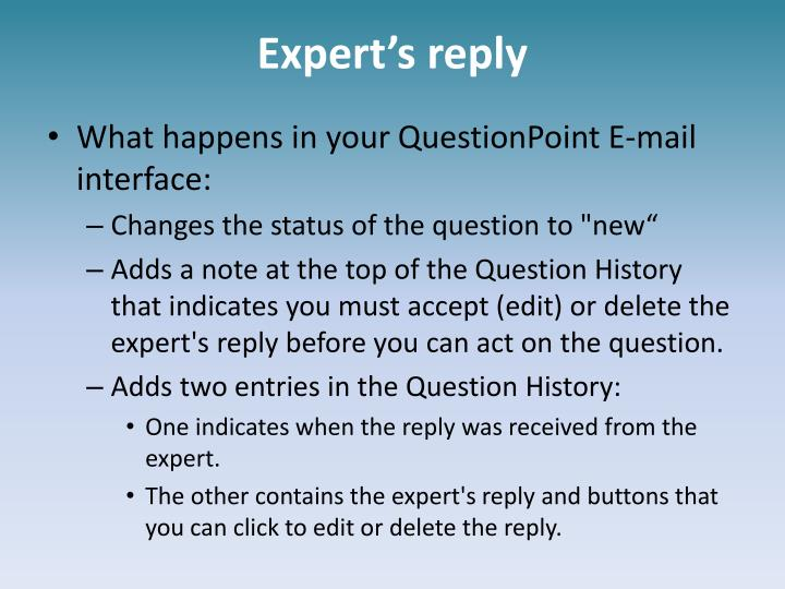 Expert's reply