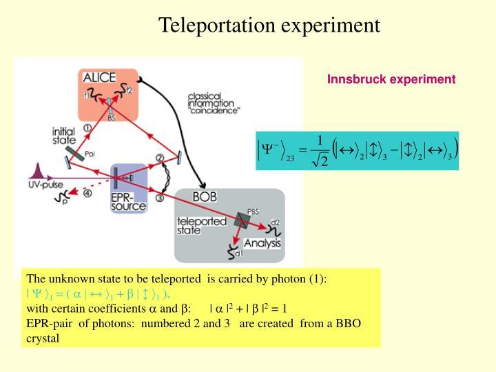Teleportation experiment