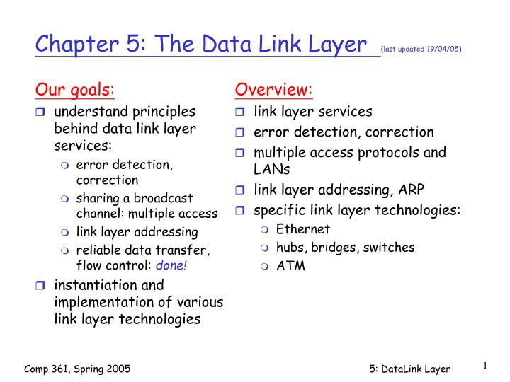 chapter 5 the data link layer last updated 19 04 05 n.