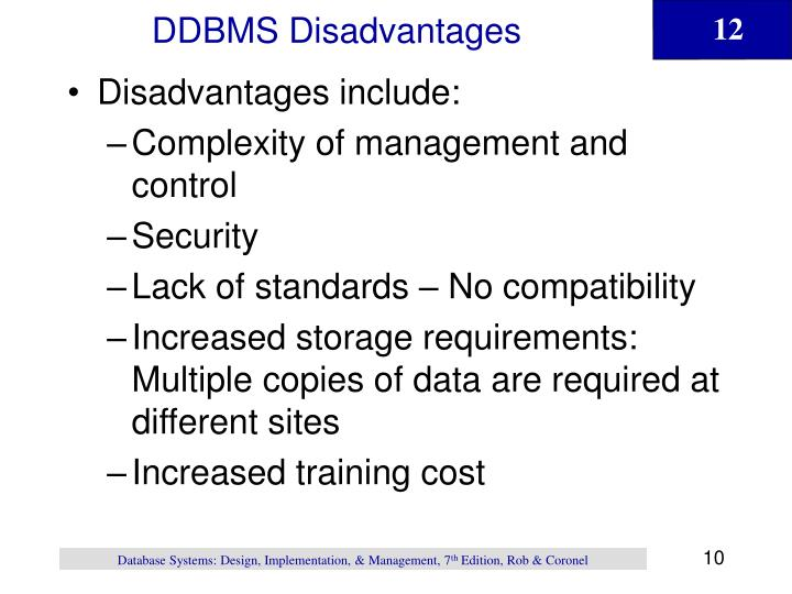 DDBMS Disadvantages