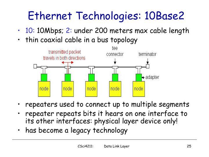 Ethernet Technologies: 10Base2