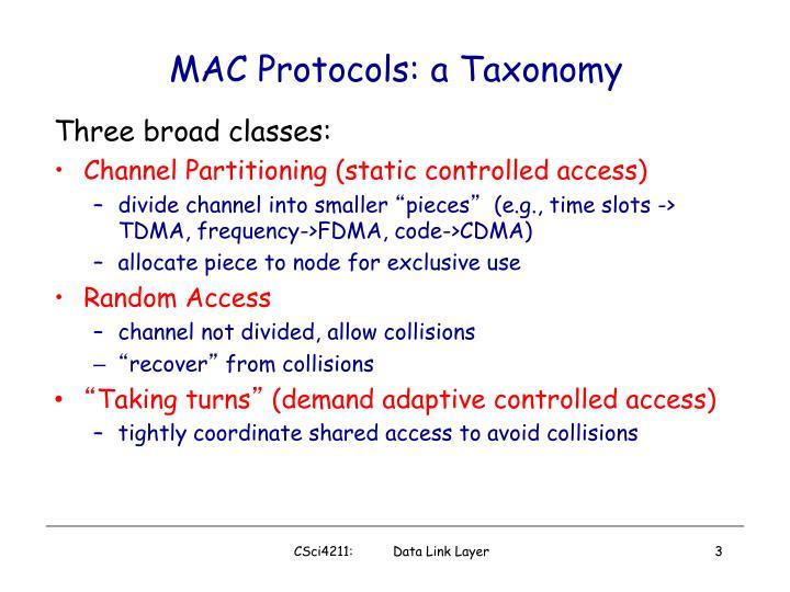 Mac protocols a taxonomy