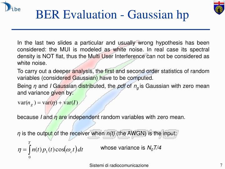 BER Evaluation - Gaussian hp
