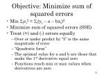 objective minimize sum of squared errors